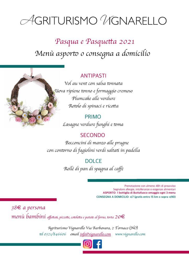 Il menu di Pasqua e Pasquetta 2021 a Vignarello (asporto e delivery)